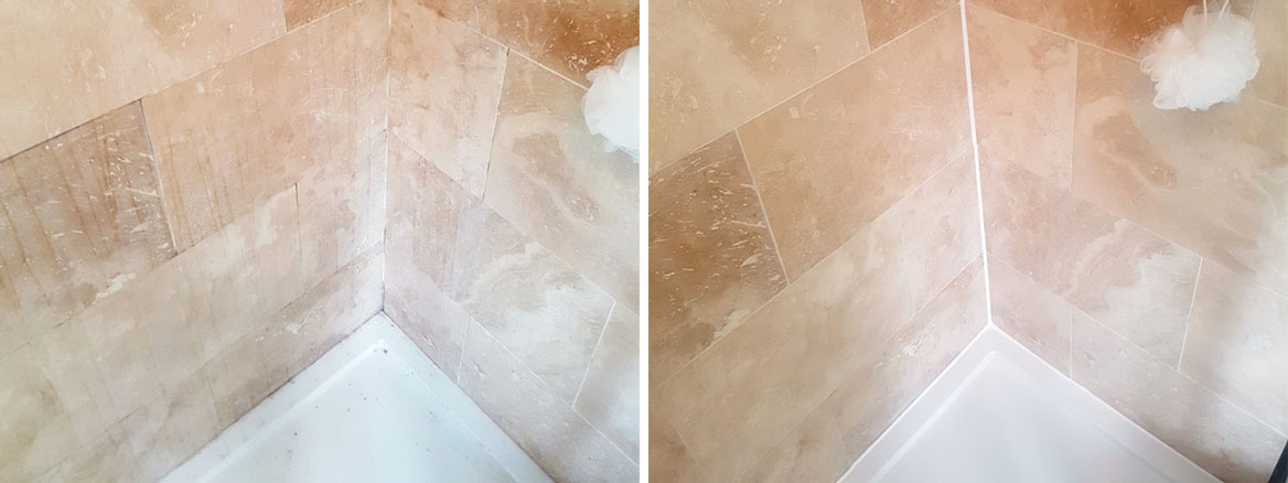Travertine Shower Before After Cleaning Newton Heath
