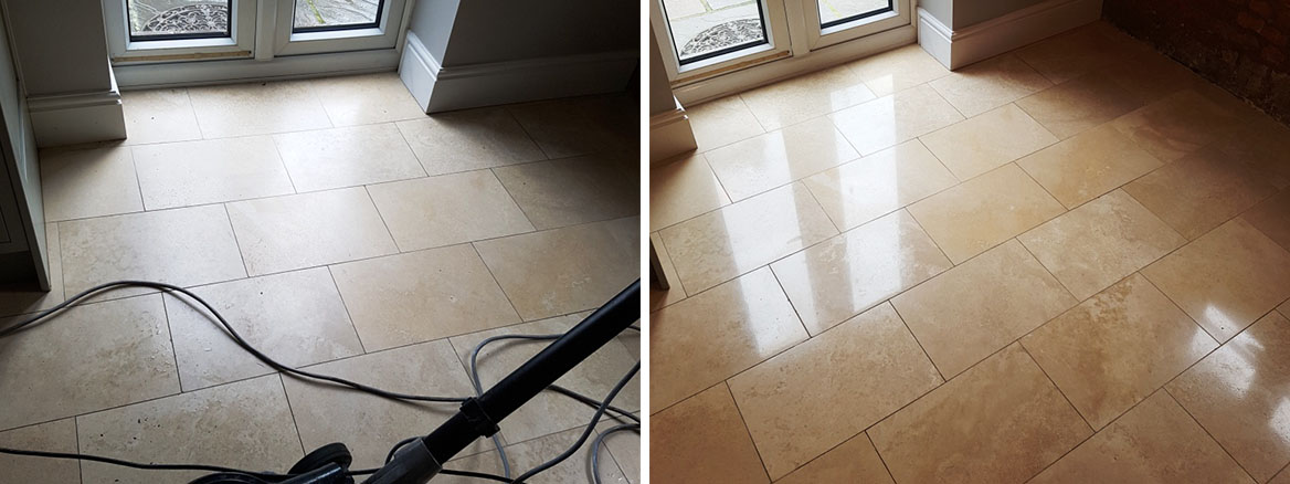 Travertine Tiled Floor Before After Cleaning and sealing Newton Heath