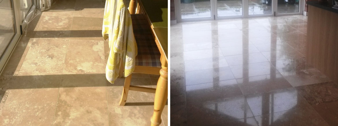 Travertine Tiled Floor Before After Polishing in Didsbury