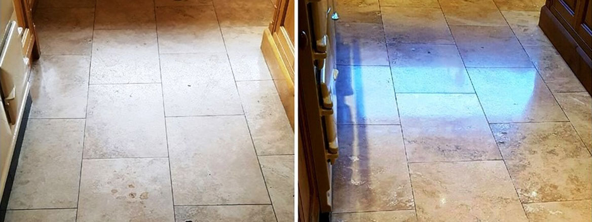 Travertine Tiled Floor Before and After Cleaning Bury