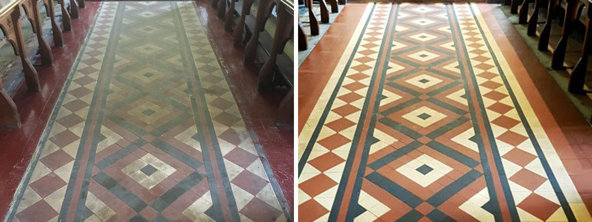 Victorian Floor Before After Cleaning Rishton Church