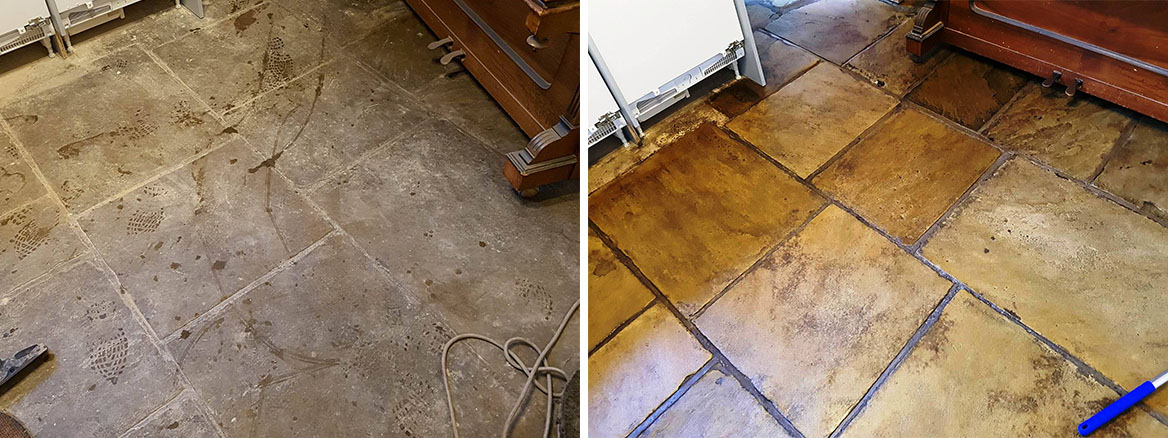 Yorkstone Slab Floor Before After Cleaning and Sealing in Hyde